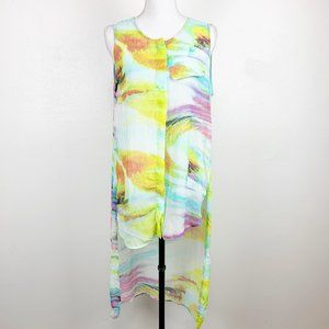 L'Atiste by Amy Colorful Button Down Top High Low